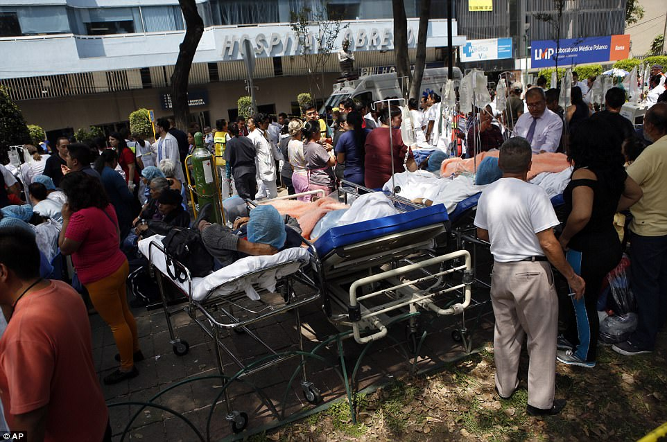 Hospital patients who were evacuated from wards were taken outside in their beds as a safety precaution
