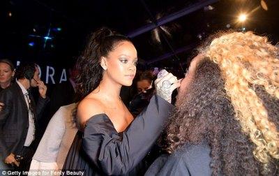 Rihanna In Black For Fenty Beauty Launch In Paris