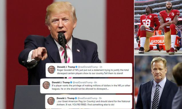 Trump doubles down on tirade against NFL anthem kneelers