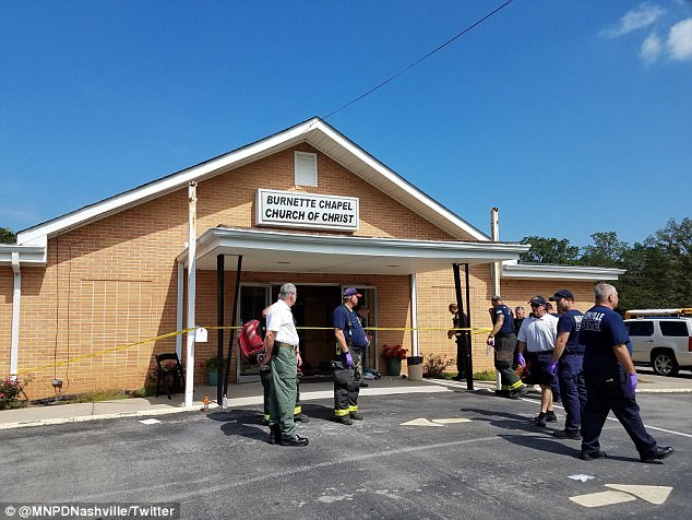 A mass shooting at Burnette Chapel Church of Christ (scene above) in Nashville on Sunday left one woman dead and eight people wounded, including the gunman, who is in police custody