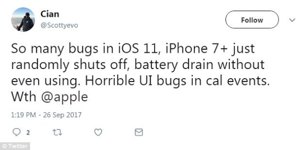 In response to the complaints, Apple has already put out a quick fix, issuing iOS 11.0.1 today. But, it's unclear which bugs have been addressed