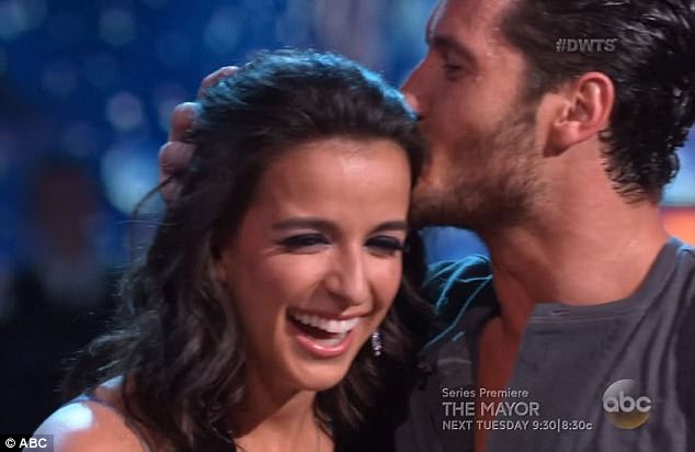 Birthday girl: Victoria Arlen got a birthday kiss from her partner Val Chmerkovskiy