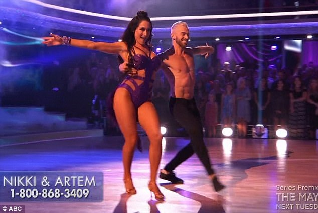 Samba dance: Nikki Bella and Artem Chigvintsev were tasked with a samba dance