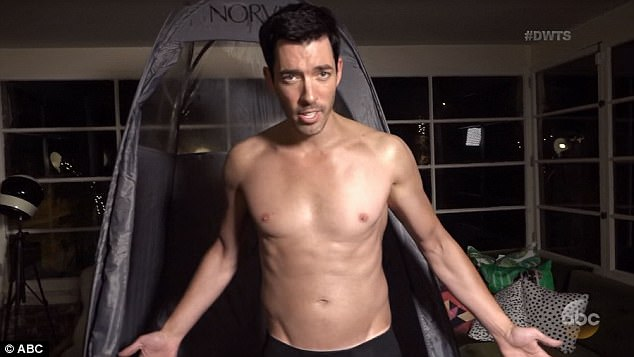 Spray tan: Drew Scott got a spray tan for his performance