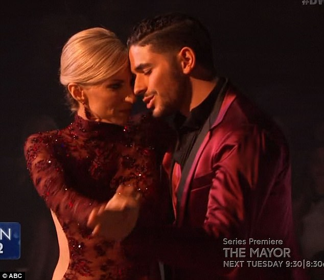 Sexy dance: The pop star scored 21 points for her Argentine tango with her young pro Alan Bersten