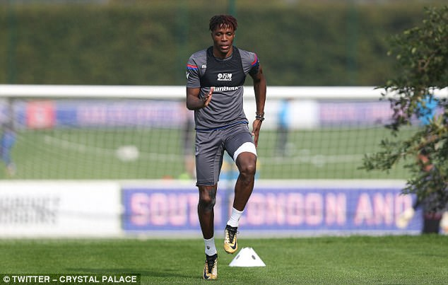 Palace tweeted two images of Zaha, along with the words: 'Wilf continuing his recovery'