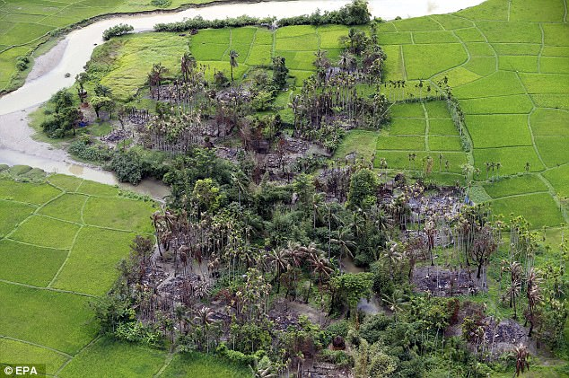 Picutred is a burned out village near Maungdaw township, which was once Muslim-majority but has now been almost entirely cleared of the religious group