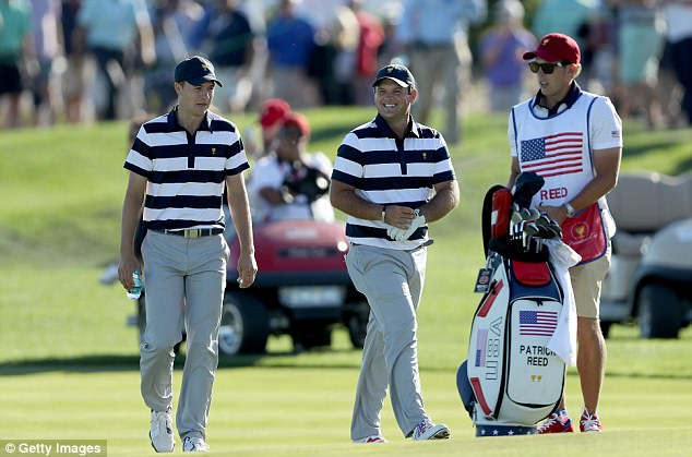 Jordan Spieth (left) and Patrick Reed won 5&4 against Emiliano Grillo and Si Woo Kim