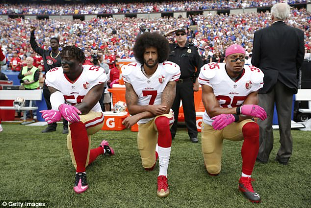 Kaepernick is well known for his protests against police during the national anthem as a former San Francisco 49ers quarterback. The kneeling protest last weekend spread across the NFL