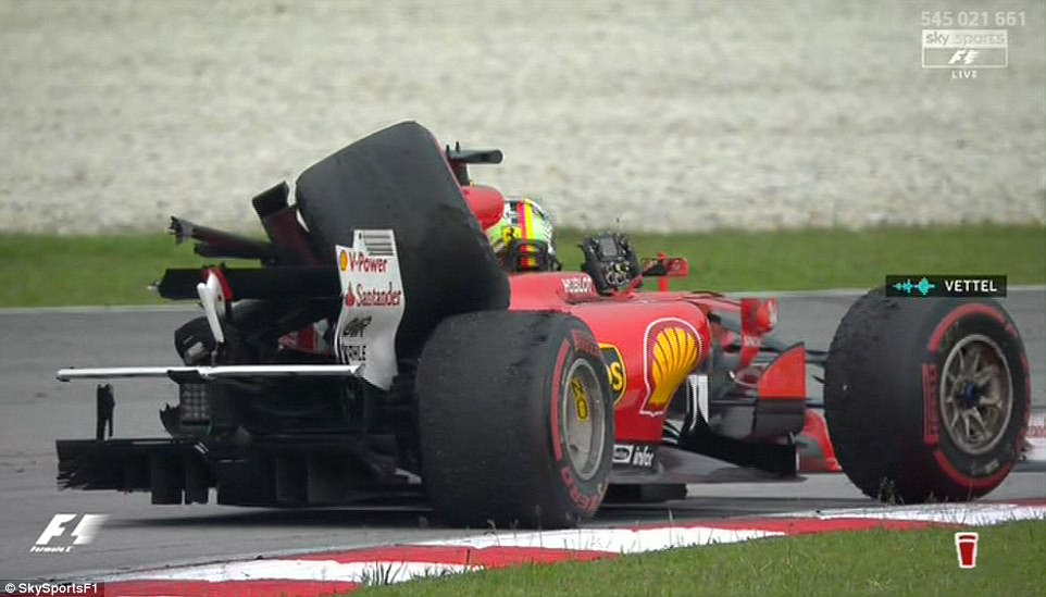 The rear left wheel of the Ferrari was left completely ruined and bent upwards over the car