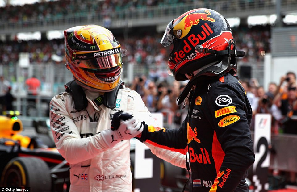 Hamilton finished second to extend his lead in the championship standings and he congratulated Verstappen after the race