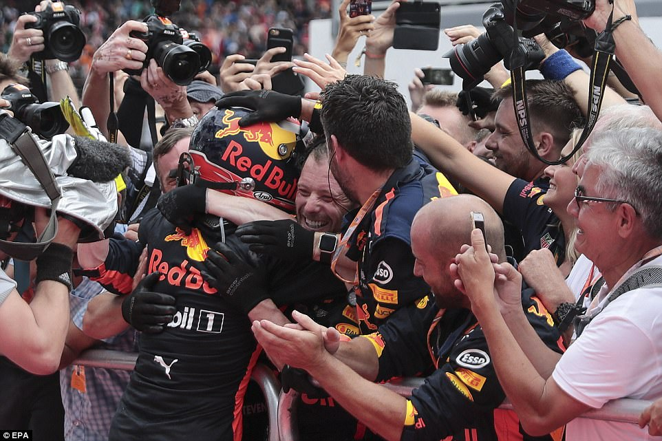 Verstappen, who celebrated his 20th birthday on Saturday, joins his Red Bull team after clinching the race victory