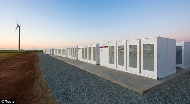 Elon Musk's 100 megawatt lithium-ion battery (129MWh) near Jamestown, in the central north of South Australia.