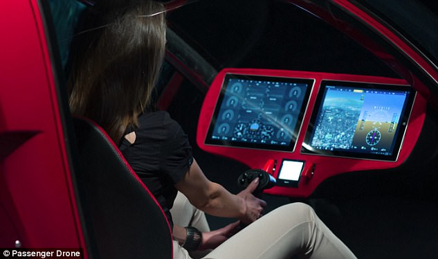 Passenger Drone's internal communications are transmitted through fibre optics. With the exception of the main power cables, there are no other wires in the entire aircraft
