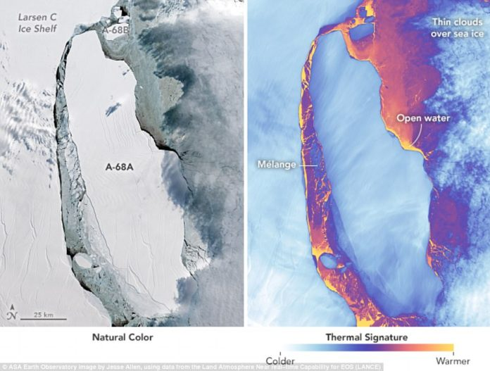 Stunning new satellite images have revealed the movement of a giant iceberg that erupted from the Larsen C ice shelf in July.  Detailed images captured by instruments aboard NASA's Landsat 8 show the wide gap between the main shelf and the iceberg, with a thin layer of loose, floating ice in between.