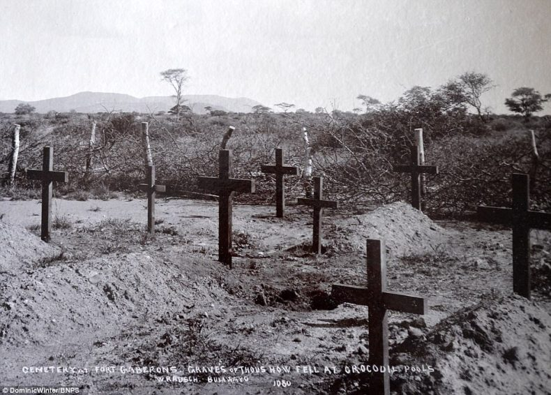 In recent years, the colonial history of Cecil Rhodes and of Britain in Africa have come under closer scrutiny and harsh criticism. Pictured, a cemetery atFort Gaberons - titled 'Graves of those who fell at Crocodile Pools'