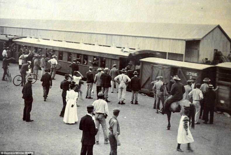 Mr Alburysaid:'The value of the album stems from the remarkable number of photos in it and the quality of them.' Pictured, a train station inBulawayo, Rhodesia