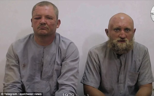 Two suspected Russian mercenaries named in a video as Grigory Mikhailovich Surkanov (left) and Roman Vasilievich Zabolotny (right), are feared dead