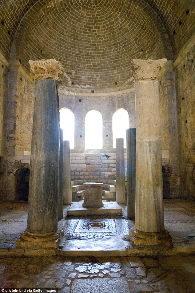 The latest discovery support claims St Nicolas was born in the third century and lived and died in Turkey. However, the tomb lies beneath a mosaic so the tiles will need to be removed carefully. Pictured is the church where the hidden crypt is believed to lie