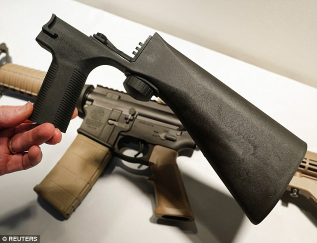 The devices, known as 'bump stocks' among other names, are legal and originally were intended to help people with limited hand mobility fire a semi-automatic without the individual trigger pulls required