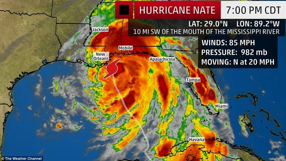 Gulf Coast braces as Hurricane Nate approaches   Daily Mail Online The weather map above shows Hurricane Nate just before it made landfall  near the Louisiana