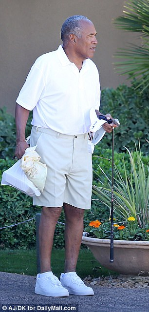 OJ Simpson shed 100lbs before his prison release on October 1st. Pictured: Simpson leaving a country club on Friday