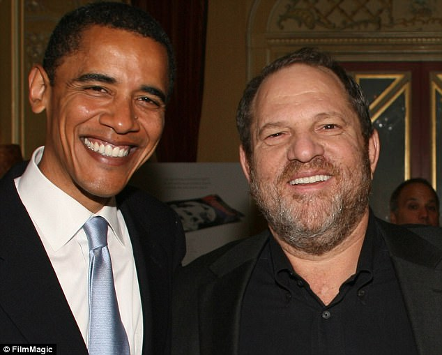 Bundled up: Harvey Weinstein raised more than $600,000 for Obama after switching from the Hillary camp when she lost in 2008. Now the ex-president is a target of Republican calls to hand back the money