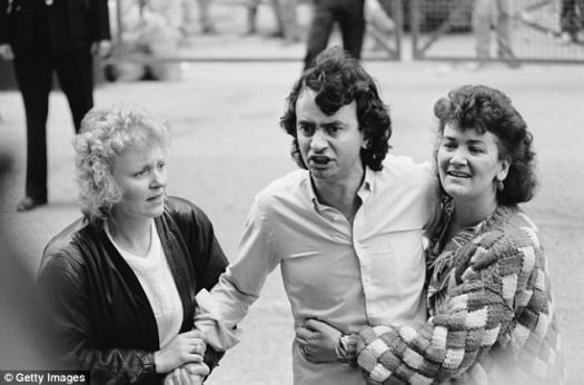 The biography, which is titled In The Name Of The Son, details Conlon's 15 years locked in a British prison after he was wrongly convicted as an IRA bomber in 1975, his years of torture at the hand of the police, and his battle with drug addiction following his release. He is pictured center in 1989 after his sentence was lifted
