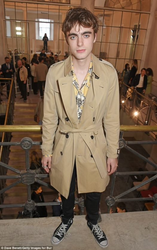 Representing: Liam Gallagher's son Lennon was also wearing Burberry at the show