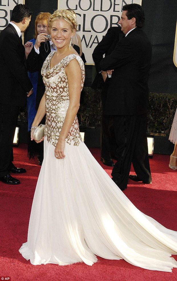Obliging: Sienna Miller was reportedly forced to wear Marchesa to the 2007 Golden Globes or risk upsetting Weinstein whose company had produced her film Factory Girl