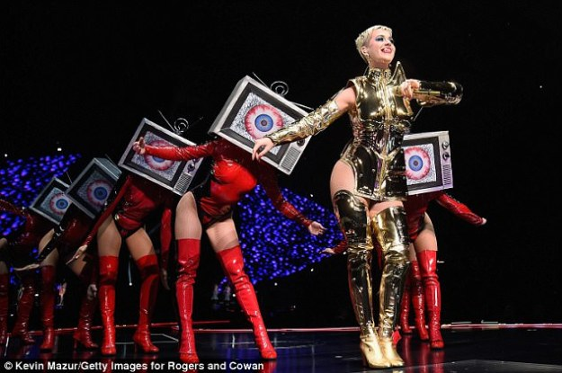 Golden girl! The MTV VMAs host will next take her 85-date Witness: The Tour to New York's Barclays Center in Brooklyn on Wednesday night with opener Noah Cyrus