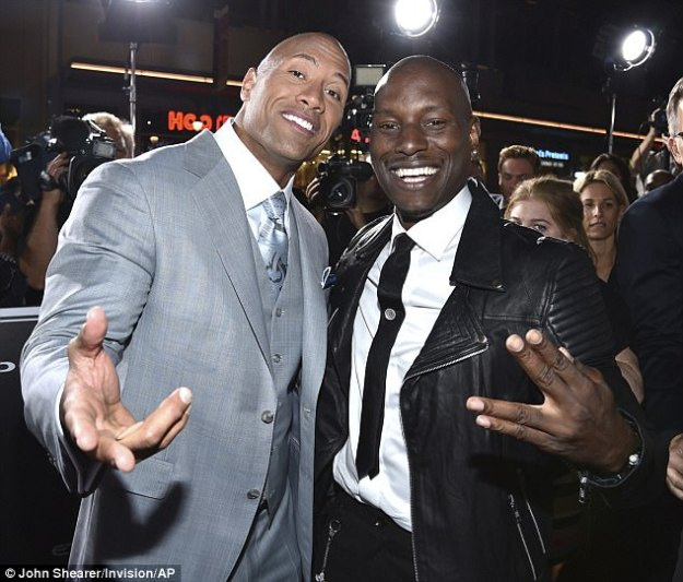 Former friends:Tyrese Gibson, 38, gave a scathing appraisal of his 'selfish' Fast & Furious costar Dwayne 'The Rock' Johnson, 45, during a TMZ interview on Tuesday. Photo from 2015
