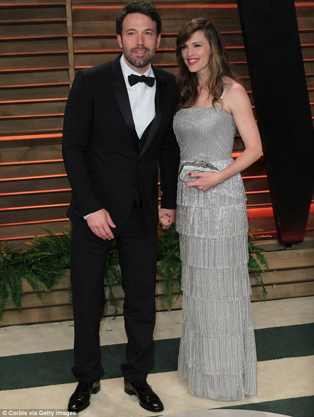 Happier times: Ben and Jennifer attending the Vanity Fair post-Oscars party in 2014
