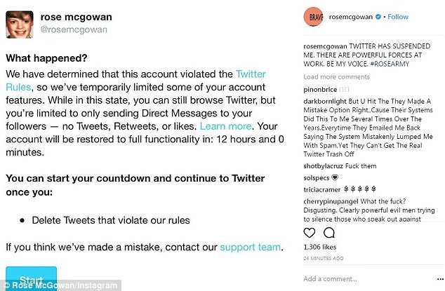 Rose McGowan took to Instagram to say her Twitter account had been suspended Wednesday night