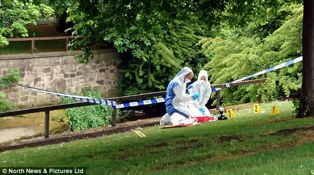 Forensic police officers investigated the scene close to the River Skerne, in Darlington, following the incident around midnight on May 16 this year