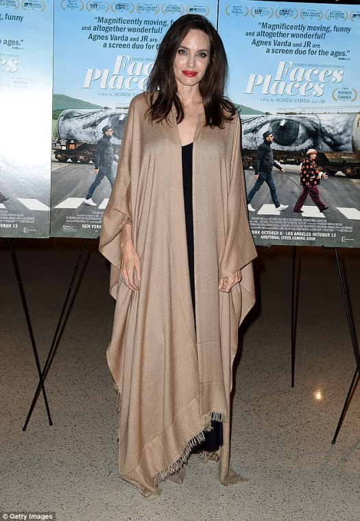 Laid back: Angelina Jolie looked carefree at the Faces Places premiere in LA on Wednesday night