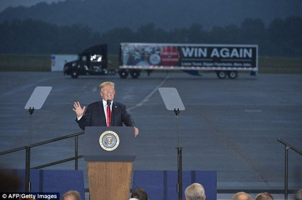 President Trump told truckers and others gathered in Harrisburg Wednesday that the corporate tax rate would be slashed by 20 percent and his tax plan, overall, would give Americans 'so much money'