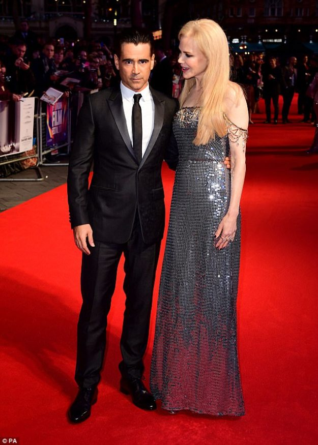 Cosy co-stars: Nicole was joined on the red carpet by Colin Farrell who stars as her husband inKilling of a Sacred Deer