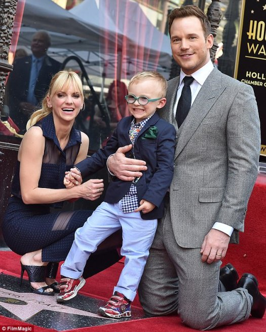 The two married in 2009 in Bali after eloping after a friend's wedding, and had son Jack, three years later. (Pictured in April honoring Chris Pratt with a star on the Hollywood Walk of Fame)