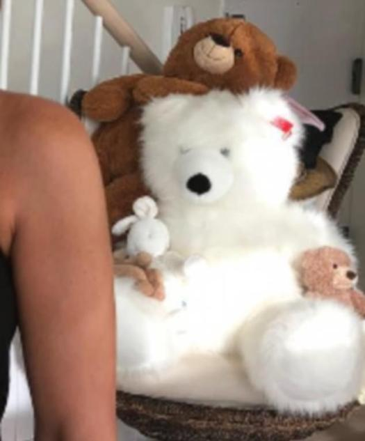 Furry friends: The image also reveals Haley's very extensive collection of stuffed toys
