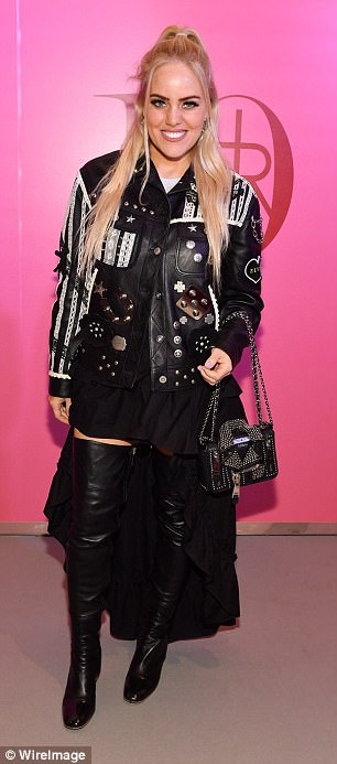 Blondes unite!Cailli Beckerman opted for rock chic style in thigh-high boots and a studded leather jacket