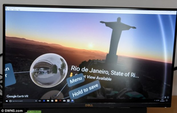 Oculus Rift is a virtual reality headset that immerses users in digital worlds. The headset can be connected to two handheld controllers that track users' hands. Pictured is a first-person view of Mrs Howard visitingRio de Janeiro on Google Earth using her headset