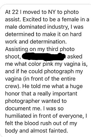 Private: One photo assistant said someone once asked her detailed questions about her private parts, and when she felt embarrassed, everyone else acted as if it was normal