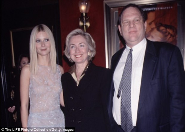 Long-term relationship: Gwyneth Paltrow stepped forward to accuse Harvey Weinstein of harassing her. Clinton said she was shocked by the allegations against her friend