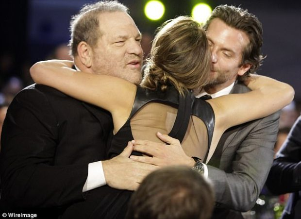 Topic change: 'I just need some affection. I don't care,' Lawrence (pictured with Weinstein and Bradley Cooper in 2013) jokingly replied