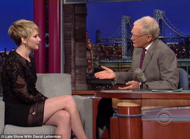 Reference? David Letterman appears to hint at abuse on the part of Harvey Weinstein during a 2013 interview with Jennifer Lawrence (pictured)
