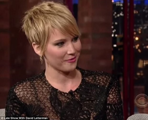 Hollywood: Letterman asked Lawrence what happens at premiere parties, and before she could reply, he said: 'People like Harvey Weinstein come up, want to hug you'