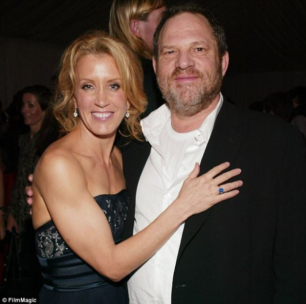 Out with it: Felicity Huffman confirmed that reports Harvey Weinstein threatened to stop financial support of her 2005 film Transamerica if she didn't wear Marchesa are 'true'