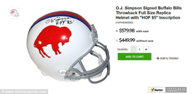 The former Heisman winner has started selling autographed helmets for $399.99. For $449.99, fans can buy a helmet that includes the year Simpson was elected to the Hall of Fame, 1985