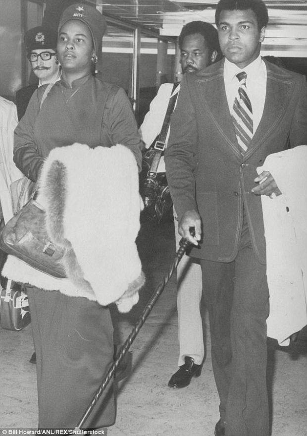 Khalilah Ali (left), who was born Belinda Boyd, says that after she and the former heavyweight champion married in 1967, she would arrange hotel rooms so her husband can have trysts with his many mistresses. The couple is seen at London Heathrow Airport in this undated photo